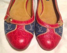 AUTH $1200 LOUIS VUITTON Women Flat Shoe Red Leather & Blue Denim Size 7(US) 37 #LouisVuitton #BalletFlats