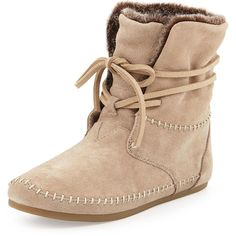 TOMS Zahara Suede Moc Bootie ($105) ❤ liked on Polyvore featuring shoes, boots, ankle booties, ankle boots, oxford tan, tan lace up booties, tan flats, tan suede boots and suede boots
