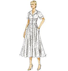 V8577  Close-fitting, lined, flared dresses A, B, C have darts, front and back gathers, side front pockets with pocket bands and button front closing. #voguepatterns #shirtdress
