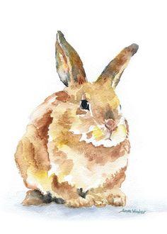 Bunny Rabbit Watercolor Painting Giclee Print Nursery Art -Woodland Animal Art , Conejo conejo acuarela Giclee Print 5 x 7 vivero por SusanWindsor. Animals Watercolor, Easy Watercolor, Watercolor Cards, Watercolor Paintings, Original Paintings, Watercolor Print, Landscape Watercolour, Watercolours, Original Art