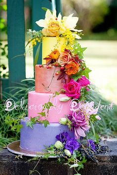 bright wedding colors for wedding cake would be great for rainbow wedding Gorgeous Cakes, Pretty Cakes, Cute Cakes, Amazing Cakes, Rainbow Flowers, Colorful Flowers, Rainbow Pastel, Tropical Flowers, Fancy Cakes