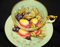 AYNSLEY ENGLAND FRUIT SIGNED CACTUS GREEN TEA CUP AND SAUCER   249.00