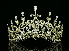 f001d78faae023 Pageant Bridal Wedding Rhinestone Crystal Tiara Crown - Gold Plated Clear  Crystals T429 Venus Jewelry,