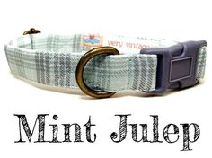 "Mint Green Gray Plaid Preppy Dog Collar ""Mint Julep"" by Very Vintage"