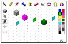 Isometric Drawing Tool: Use this interactive tool to create dynamic drawings on isometric dot paper. Draw figures using edges, faces, or cubes. You can shift, rotate, color, decompose, and view in 2‑D or 3‑D.