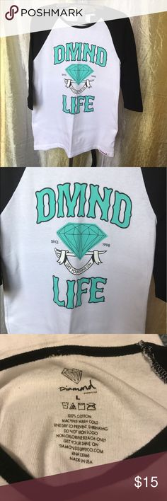 Diamond Supply  baseball tee Women's Diamond Supply baseball tee. Worn a handful of times. Great condition! Smoke/pet free home. Diamond Supply Co. Tops Tees - Long Sleeve