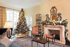 beautiful french country inspired christmas tree and mantel