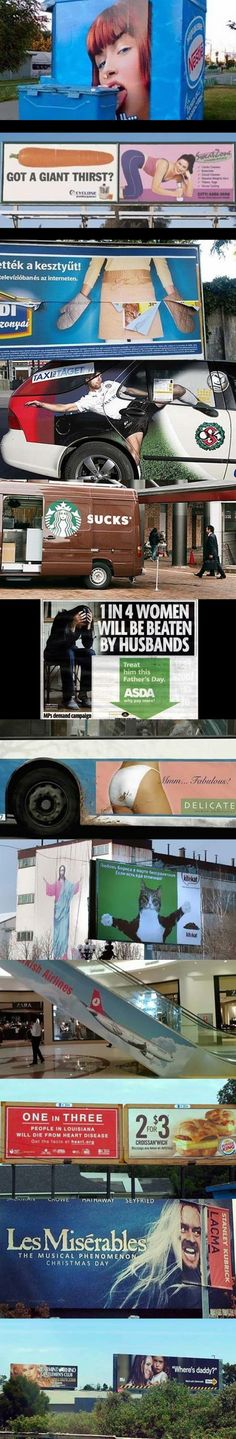Awkward Ad Placements!  The fourth picture is actually a picture of a taxi from my hometown in Sweden, how random is that?!