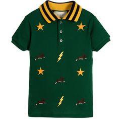 Gucci - Boys Green Cotton Embroidered Polo Shirt | Childrensalon