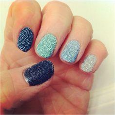 My take on the Caviar manicure! Blue ombré caviar nails.