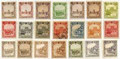 第4次普通切手(満州、1936-7年) 国務院庁舎、荷馬車、奉天北陵、熱河離宮