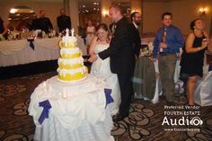 Katie and Chris Gustafson are genuine beer aficionados, and their wedding reception at D'Andrea Banquets in Crystal Lake showed it, with many creative touches. Wedding Dj, Wedding Reception, Photo Booth Props, Chicago Wedding, Groom, Bride, Cake, Marriage Reception, Wedding Bride
