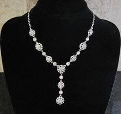 NWT~Charter Club~Silver Filigree Dome~Clear Crystal Stone~ Y Necklace~$44~Bridal #CharterClub #Pendant