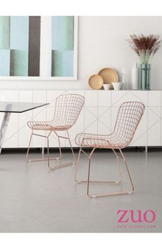 Zuo Modern Wire Dining Chair Rose Gold - 100361
