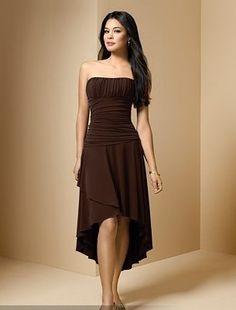 Pleated Bake Long Hem Tube Dress
