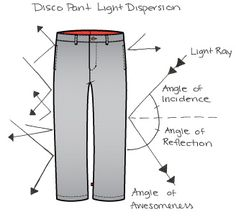 Disco pants.  They reflect and disperse light!
