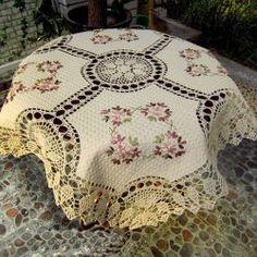 "Vintage Handmade Ribbon Embroidery Table Cloth 33""x33"""