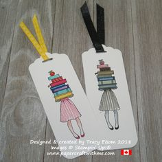 Bookmarks featuring a girl holding a stack of books created using the Hand Delivered Stamp Set and all 10 Brights Stampin Write Markers (left) and all 10 Neutrals (right) from Stampin' Up! Creative Bookmarks, Paper Bookmarks, Watercolor Bookmarks, Bookmarks Kids, Corner Bookmarks, Crochet Bookmarks, Wrapping Ideas, Homemade Bookmarks, Bookmark Craft