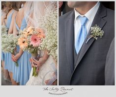 Baby's breath boutineers for the guys. Put a peach rose on Eddies' with the baby's breath.
