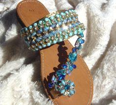 Sandalo greco con crochet arco passamaneria strass e di GogosJouls