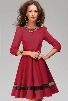 plissiertes Kleid Rundhals mit Tüll-rot 17.02