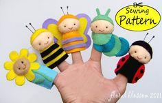 Felt finger puppet ideas: flower, bee, butterfly, caterpillar, ladybug