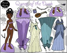 african american fantasy paper doll with braids and some fancy dresses