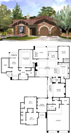 #Italian #HousePlan 61559 has 3238 square feet of living space, 3 bedrooms and 2.5 bathrooms. Two large sections of the house are connected by a gallery with barrel ceiling that opens to the formal dining room and the pub with bartop. Bedrooms 1 & 2 are arranged opposite the garage in the front of the house, and the master suite, exercise room, kitchen, family room and study to the back. The lanai features a summer kitchen.