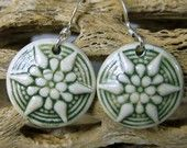Green Porcelain Starburst Earrings With Sterling Silver Earwires