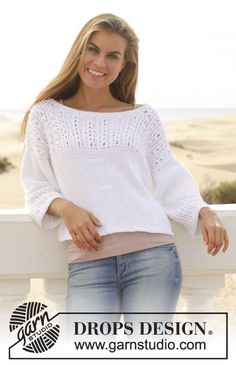 """Knitted DROPS jumper with lace pattern in """"Paris"""". Size: S - XXXL. ~ DROPS Design"""