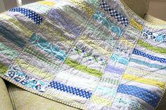 a summery blue & green quilt.