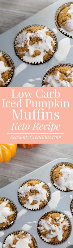 Low Carb Iced Pumpkin Muffins (Keto-Friendly Looking for fall re. Low Carb Iced Pumpkin Muffins (Keto-Friendly Looking for fall recipes that can keep Thanksgiving Desserts Easy, Great Desserts, Low Carb Desserts, Dessert Recipes, Lunch Recipes, Cookie Recipes, Keto Recipes, Breakfast Dessert, Breakfast Muffins