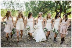 Wedding: Robert & Kelsey// Red Barn Ranch, San Diego, CA » Analisa Joy Photography // california barn wedding, mismatched bridesmaids dress, bridesmaids in cowboy boots