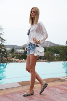 summer look with embellished loafers