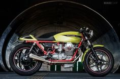 Moto Guzzi V65 cafe racer built by the Polish workshop PJP Motocykle. I really like this green and red combo.