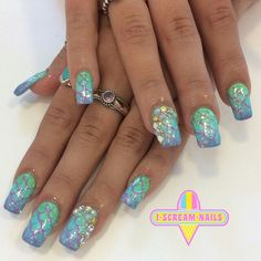 Mermaid ombre nails Nautical Nail Art, Mermaid, Fresh, Beauty, Beauty Illustration
