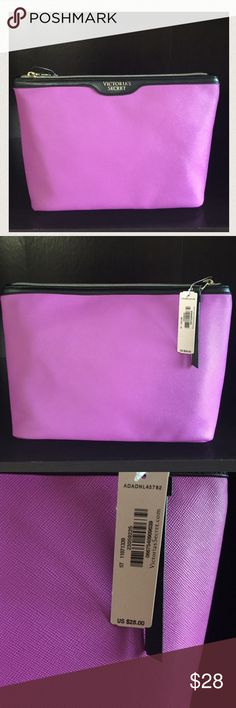 """NWT VS Purple Large Makeup Bag/ Clutch NWT. VS Purple zip closure makeup bag. You can also use it as a clutch. Black lining with a zipper pocket inside. 2 open pockets inside. Gold colored hardware. Length: approx. 11"""" height approx. 7"""" Victoria's Secret Bags Cosmetic Bags & Cases"""