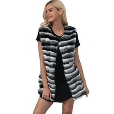 3b6d8d0605c DMZing Women鈥榮 Winter Plus Size Patchwork Vest Jacket Lady Sleeveless Faux  Fur Gilet Shrug Outwear Waistcoat