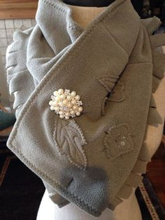 upcycled fleece scarf with a pearl brooch by TrishsTwisteds, $22.95