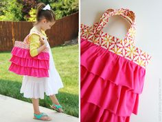 A Ruffled Tote (aka: Elli's Church Bag) - must make this and the tie tote or my kids. Diy Projects For Kids, Diy For Kids, Gifts For Kids, Craft Projects, Zipper Pouch Tutorial, Tote Tutorial, Tutorial Sewing, Bag Patterns To Sew, Tote Pattern