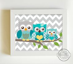 Aqua Gray Boy Nursery Decor Owl Print for Nursery Baby by MuralMAX