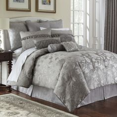 Marquis by Waterford® Samantha Platinum Floral 4-pc. Comforter Set & Accessories  found at @JCPenney