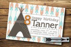 Teepee and Arrow Print Birthday Party Invitation, Digital or Printed on Etsy, $17.14 AUD