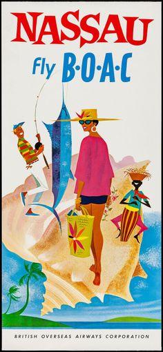 BOAC travel poster, 1960s: Nassau