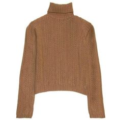 Preowned Prada Camel Roll Neck Sweater (2823505 PYG) ❤ liked on Polyvore featuring tops, sweaters, brown, ribbed sweater, camel sweater, cable turtleneck sweater, rollneck sweaters and camel turtleneck sweater