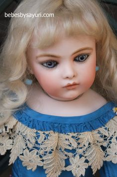 1-008 Bisque Doll, Little People, Blue Dresses, October, Jewellery, Dolls, Face, Baby Dolls, Jewels