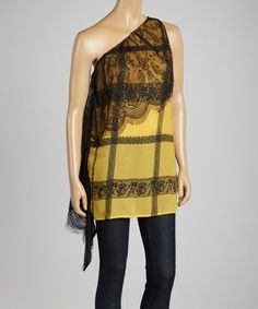 Look what I found on #zulily! Yellow Lace Status Asymmetrical Top #zulilyfinds