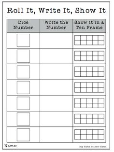 Teacher Mama: FREE Math Printable- Roll It, Write It, Show It {After School Linky}