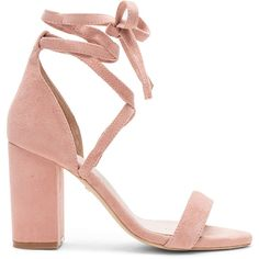RAYE x REVOLVE Layla Heel (615 BRL) ❤ liked on Polyvore featuring shoes, sandals, heels, pink, sapatos, pink sandals, block heel sandals, ankle strap sandals, ankle tie sandals and pink shoes