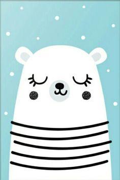 Постер в детскую. Постер для детской. Белый мишка. Оформление стен в детской